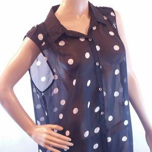 Notations sleeveless sheer polka dot blouse xxl
